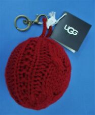 UGG Keychain Classic Cable Knit Pompom Purse/Bag Charm Redwood Red