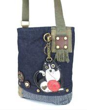 Chala Purse Handbag Denim Canvas Crossbody With Key Chain Tote Fat Cat