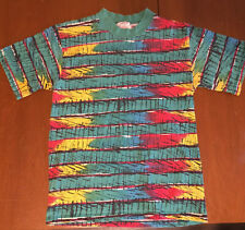 Vintage Youth Kids Surf Skate Stripe Grunge Abstract All Over Print T Shirt 80s