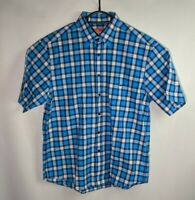 Rm Williams Men's Blue Plaid Short Sleeve Button Up Shirt - Size M