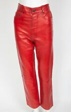 Jean Claude Jitrois Red Leather Jeans Pants sz 38 US 6 GORGEOUS