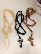 BULK LOT Set of 3 Black, White, Brown Beads Wood Cross Rosary Wooden Necklace
