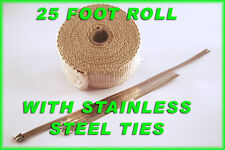 "TURBO MANIFOLD HEAT EXHAUST WRAP & STAINLESS TIES 1/16"" X 2"" X 25' TAN 1 ROLL"