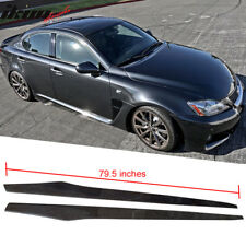 Fits 06-13 Lexus IS250 Side Skirt Extension Flat Bottom Line Lip Carbon CF Pair