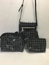 Kristine Accessories Women's Bag 3 Pc Plaid Cosmetic Bag Set & Crossbody