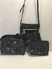 Kristine Accessories Checks In The City 3 Pc Plaid Cosmetic Bag Set & Crossbody