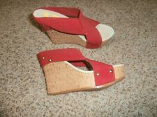 Charleston Shoe Red Stretch Wedge Sandals Shoes Size 6