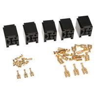 5Pcs 12V 80A Car Relay Socket Holder 4-Pin Connector & Terminals