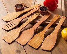 Wooden Spurtle Set 6 Heavy Duty Wooden Cooking Utensils Nonstick Wood Spatula