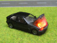 H0 1:87 BMW 323i Compact Motorbrand LED 12V Feuer Laser Cut Patina Einzelstück