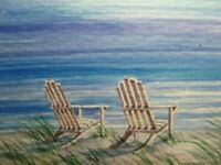 Watercolor Painting Ocean Beach Chair Vacation Nature ACEO Art