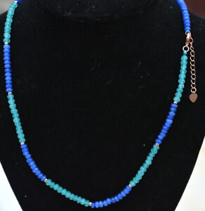 """New 2x4mm Faceted Aquamarine sapphire Rondelle Gemstone Beads Necklace 18"""" D07"""