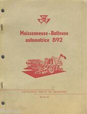 ▬►Catalogue Pieces Rechange Moissonneuse Batteuse MASSEY FERGUSON MF 892 Combine