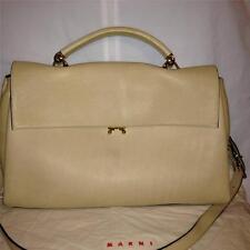 MARNI Beige Calf Leather Crossbody Shoulder Envelope Flap Bag Briefcase $2090