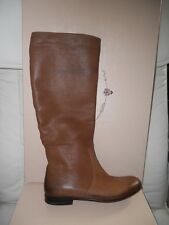Prada Brushed Leather Tall Flat Riding Boots Cuoio Cognac Brown 37.5 EU