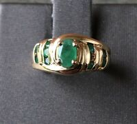 Beautiful Chunky Natural Emerald Ring, Bypass Design,Estate,10K Yellow Gold Ring