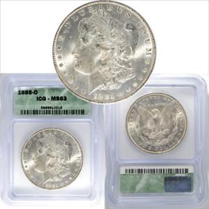 U.S. Morgan Silver Dollar 1885-O ICG MS63 Certified Uncirulated $1 Coin #218