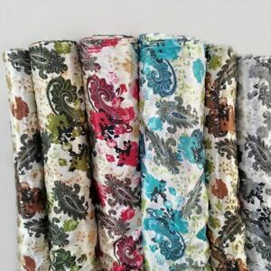 By Yard Vintage Paisley Floral Print Satin Cloth Soft Polyester Charmeuse Fabric