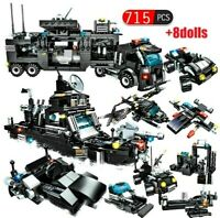 715pcs City Police Station Car Building Blocks For Lego Toy For Boys Children