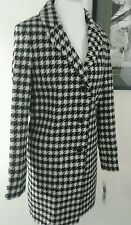 DKNY Womens Coat 10 Notch Collar Plaid Reefer Wool  Blk White Retail$325