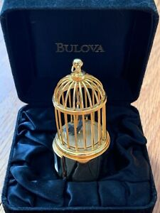 Bulova limited edition miniature brass colville birdcage clock w/ all paperwork