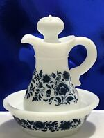 1972 Delft Avon Bottle  Milk Glass Pitcher And Bowl Beautiful Set  - Great Gift