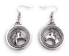 Horse Ein Circle Earring Ear Jewelry Pendant Silver Made of Metal