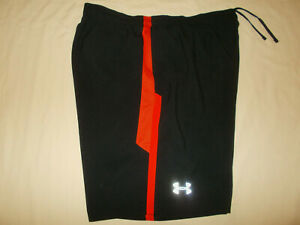 NEW UNDER ARMOUR HEAT GEAR FITTED BLACK RUNNING SHORTS WITH LINER MENS XL