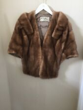 Red Brown Vintage MINK Fur Stole Shawl Jacket Coat Cape Wrap La Belle Furs