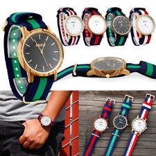 Reloj de Pulsera Mujer Hombre Casual Analógico a Cuarzo de madera de madera de bambú con banda de nylon