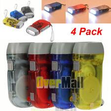 4Pcs Manual LED Flashlight Hand Crank Power Emergency Light Camping Safety Tool
