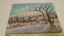 Original Oil painting of winter scene on canvas wood mount signed OOAK