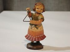 """Vintage Anri 3"""" """"Tiny Sounds Wood Carved Girl Playing the Triangle Figurine"""