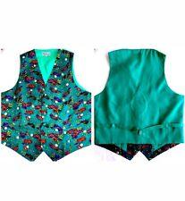 Mens Golf Silk Waistcoat XL Green Multi Colour