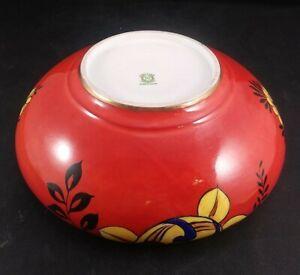 Noritake Bowl Orange Lustre Gold Trim Floral Green Maruki Mark