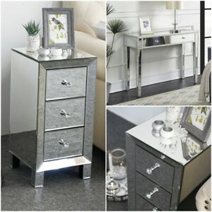 Mirrored Dressing Vanity Bedside Console Table Desk Modern Drawers