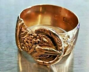 Antique Red Gold Pinky Buckle Ring, Hallmarked Chester 1915 Free P&P #mL