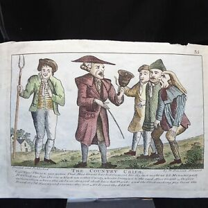 THE COUNTRY CRIER 1816 HAND COLOURED ETCHING BY WILLIAM DAVISON OF ALNWICK PL 35