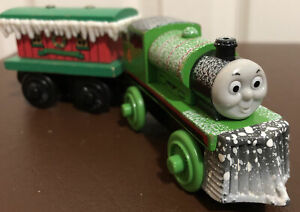 Thomas & Friends Wooden Railway Snow Covered PERCY & Winter Caboose Car Lot