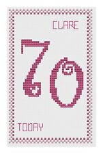 70th Cumpleaños Rosa Punto De Cruz Tarjeta Kit por Florashell