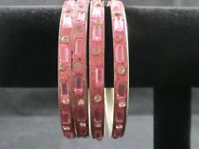 Set of Four Glittery Pink Bangles with Rhinestone Accents – Preowned