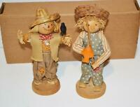 """HR VINTAGE Wooden Scare Crow & Wooden Boy Fishing 7"""" On stand collectible"""