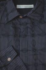 Equilibrio Men's Gray & Black Stripe Geometric Woven Casual Shirt M Medium