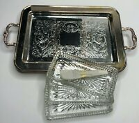 Leonard Footed Silver-plate Relish Serving Snack Tray w/ 3 Glass Inserts & Forks