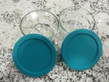 2 Anchor Hocking Glass Food Storage Bowls 2 Cups 472 mL with Teal Lids