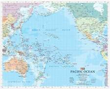 Pacific Ocean HEMA 860 X 700mm Laminated Wall Map With Hang Rails