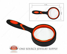 "Magnifying Glass Magnifier 2"" Glass Lens 5X Power Handheld Rubber Handle"