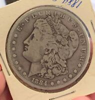 1884-S $1 Morgan Silver Dollar Great Original Details!