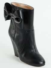 New  Red Valentino  Black  leather  Booties Size 40 US 10