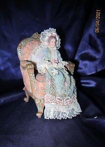 "Louis Nichole Sitting Victorian Lady 4.25"" Ornament Figurine"